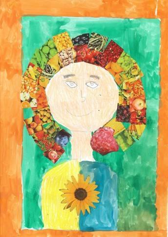 Kind malt eine Frau