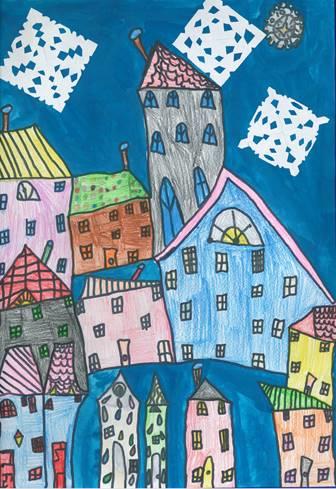 Kinder malen Häuser